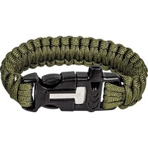 Paracord armband met fire starter - Olive