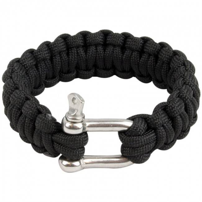Highlander Paracord armband met D-ring - Zwart
