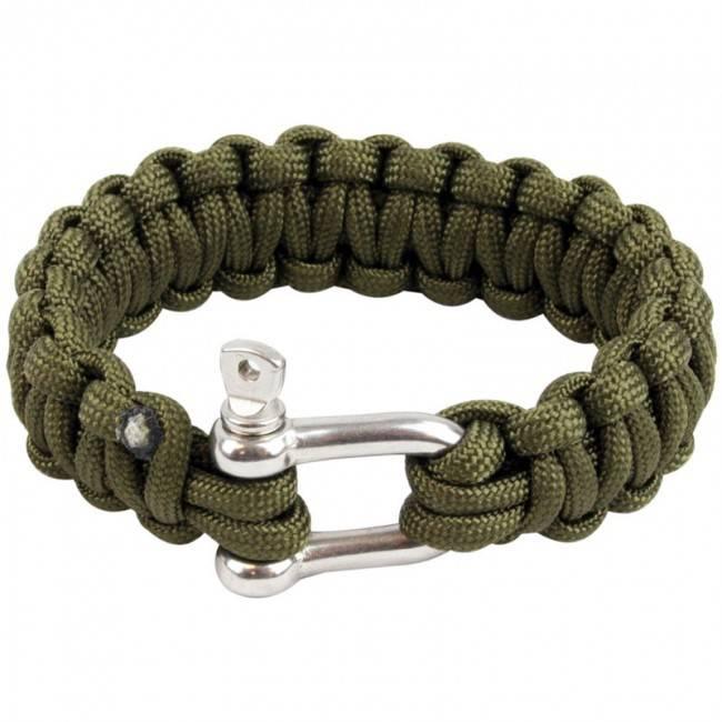 Highlander Paracord armband met D-ring - Olive