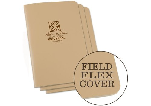 Rite in the Rain Field Flex Cover Notebook (3 stuks) 11,75cm X 17,5cm - Coyote Tan