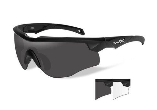Wiley X WX Rogue Matte Black frame Clear and Grey Lenses