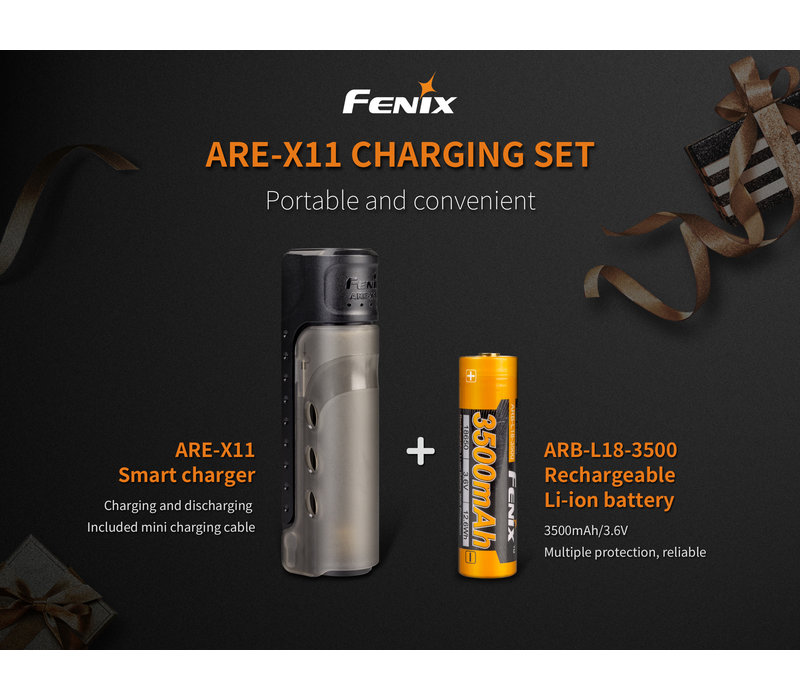 ARE-X11 18650 charging kit with 3500mAh accu
