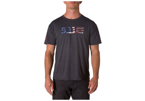 5.11 Tactical Legacy USA Flag Fill TeePop Tee - Charcoal Heather