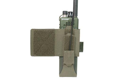 Warrior Laser Cut Wing Velcro MBITR/Harris Radio Pouch (Left Side) - Ranger Green