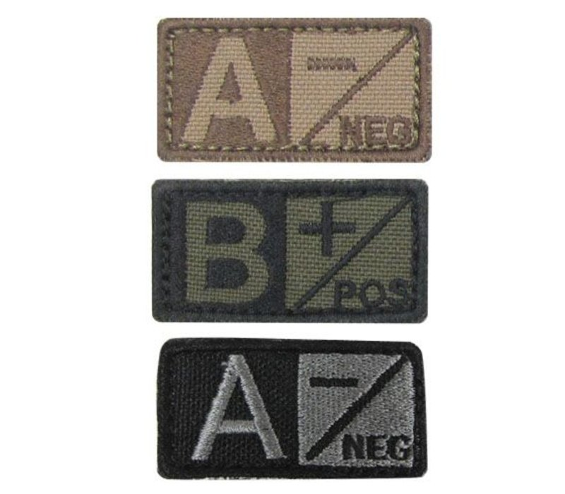 229 Blood Type Badge Coyote Tan