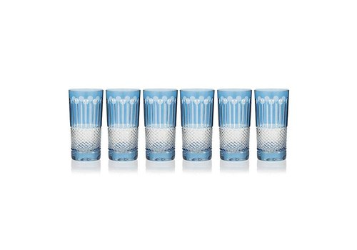 Gurasu Crystal  Sky Blue High Ball Glasses, set of 6