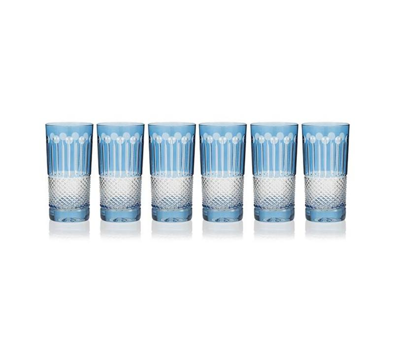 Sky Blue High Ball Glasses, set of 6