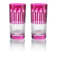 Raspberry Crystal High Ball Glasses, set of 6