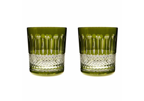 Gurasu Crystal  Rainbow Olive Green Double Old Fashioned, set of 2