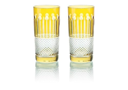 Gurasu Crystal  Citrine Crystal High Ball Glasses, set of 6
