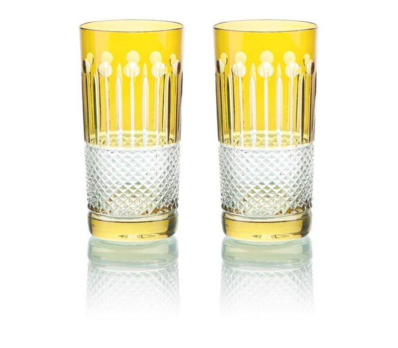 Citrine Crystal High Ball Glasses, set of 6
