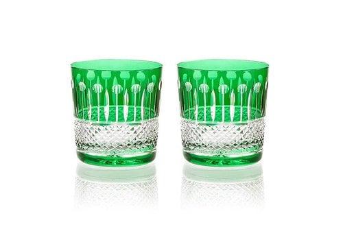 Gurasu Crystal  Birds of Paradise Emerald Green Tumblers, set of 2