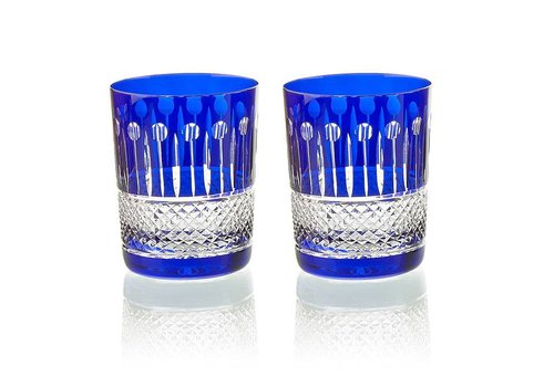 Gurasu Crystal  Birds of Paradise Crystal Tumblers in royal blue, set of 2