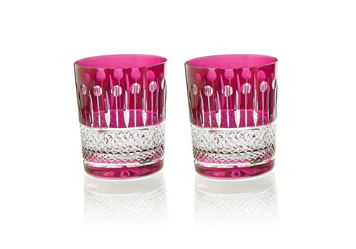 Gurasu Crystal  Birds of Paradise crystal tumblers in raspberry, set of 2