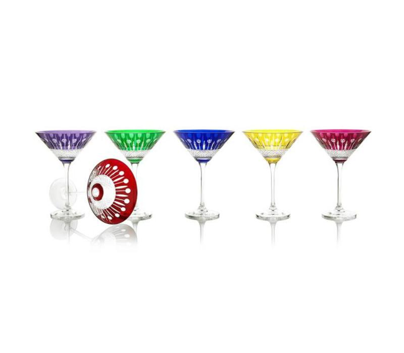 Birds of Paradise Crystal Cocktail Glasses, set of 6