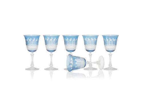 Gurasu Crystal  Sky Blue Wine Glasses, set of 6