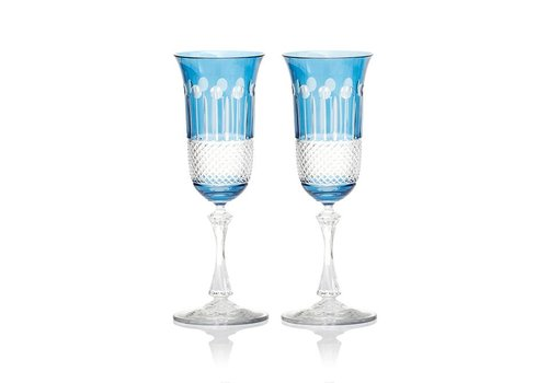 Gurasu Crystal  Sky Blue Champagne Glasses, Set of 2