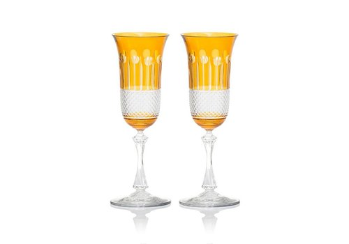 Gurasu Crystal  Amber Gold Champagne Glasses, Set of 2