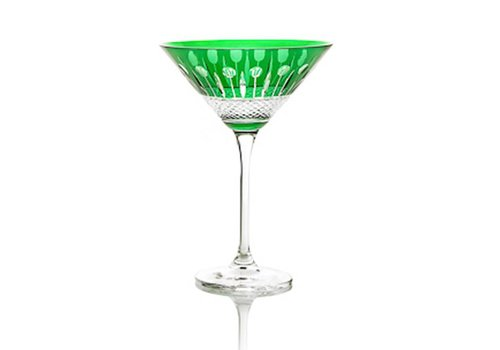 Gurasu Crystal  Martini Cocktail Crystal Glass, Emerald, single
