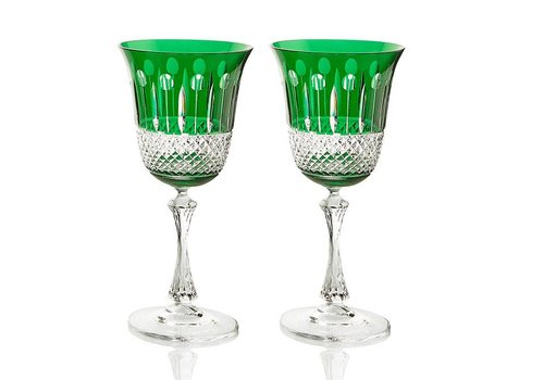Gurasu Crystal  Emerald Crystal White Wine Glasses, set of 2