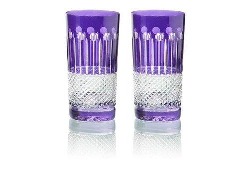 Gurasu Crystal  Purple Crystal High Ball Glasses, set of 6