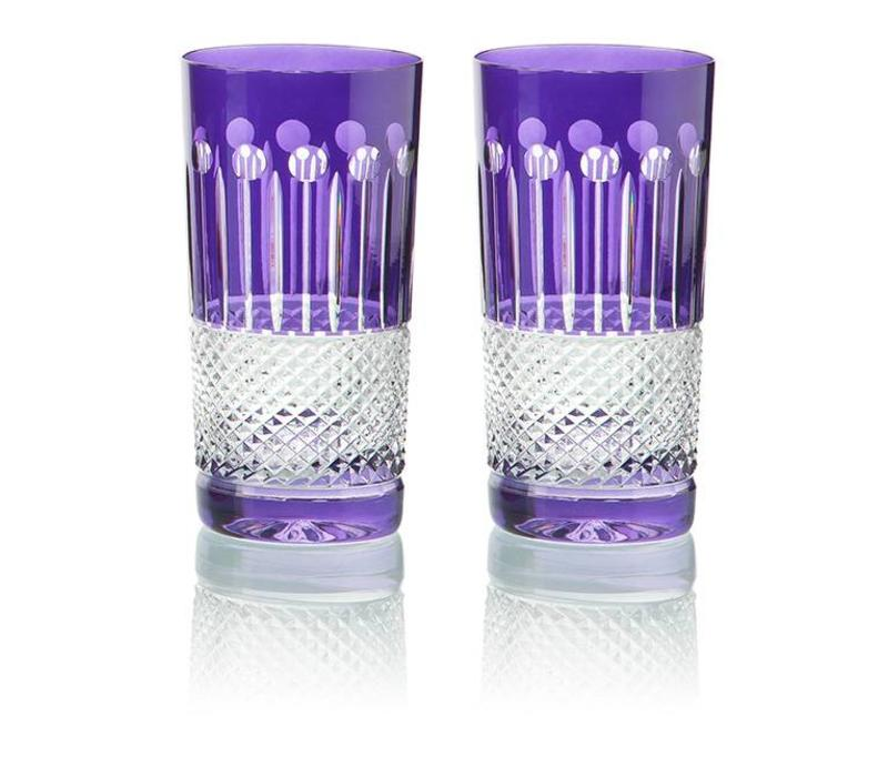 Purple Crystal High Ball Glasses, set of 6