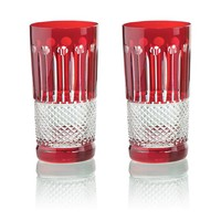 Ruby Crystal High Ball Glasses, set of 6