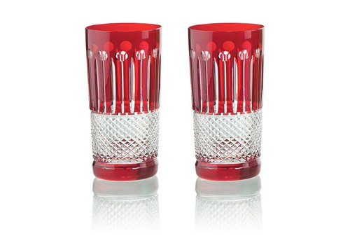Gurasu Crystal  Ruby Crystal High Ball Glasses, set of 6
