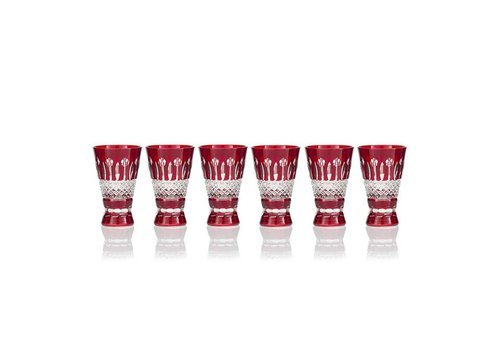 Gurasu Crystal  Birds of Paradise Shot Glasses, Ruby,  set of 6