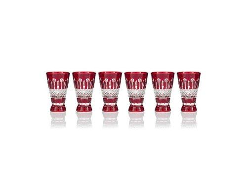 Gurasu Crystal  Birds of Paradise Shot Glasses, Ruby,  set of 6