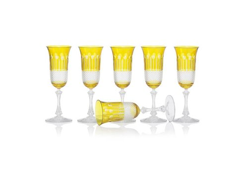 Gurasu Crystal  Citrine Champagne glasses, set of 6