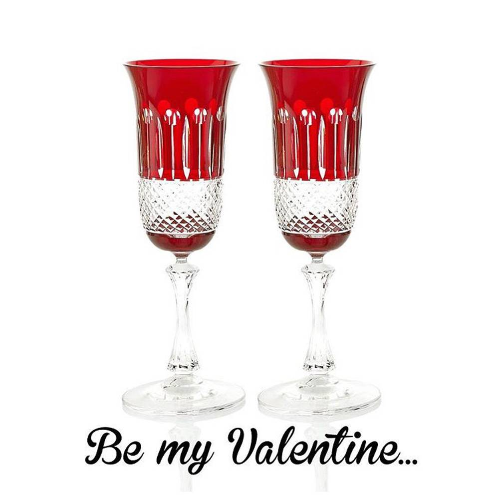 Celebrating Valentine's Day with the cupid approved ruby crystal glasses in the bath.