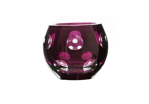 Gurasu Crystal  Aubergine Dot Tealight Candleholder