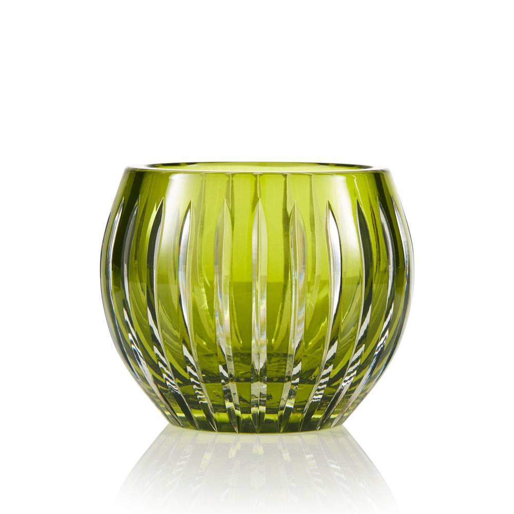 Shining Star Olive Green Crystal Tea Light Candle Holder Vase