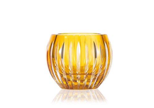 Shining Star Amber Gold Crystal Tea Light Candle Holder / Vase