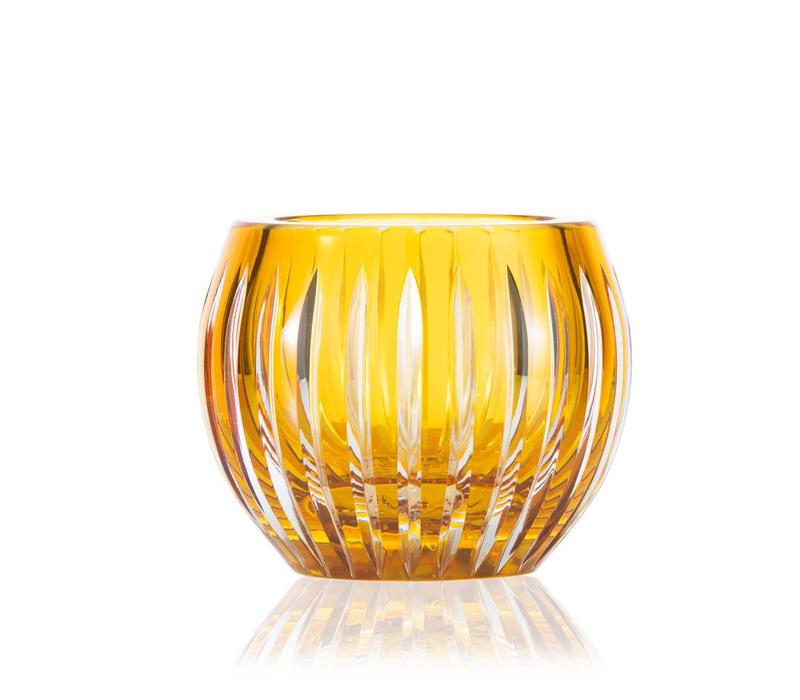 Shining Star Amber Gold Crystal Tea Light Candle Holder / Vase