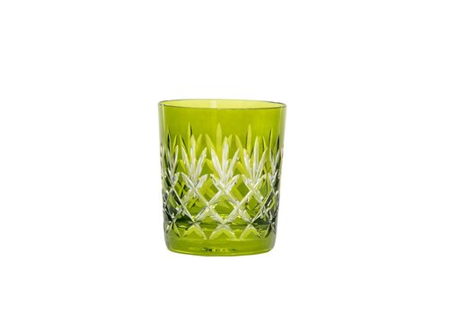 Pineapple Olive Green Double Old Fashioned, set of 2