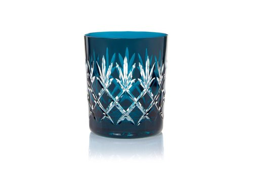 Gurasu Crystal  Pineapple Teal Double Old Fashioned Tumblers, set of 2