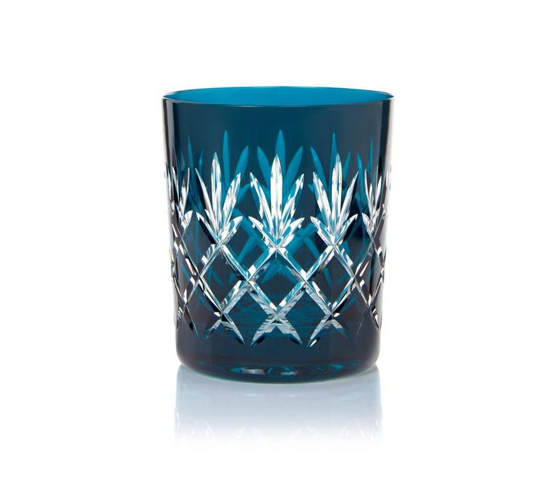 Pineapple Teal Double Old Fashioned Tumblers, set of 2