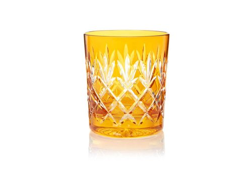 Gurasu Crystal  Pineapple Amber Double Old Fashioned Tumblers, set of 2
