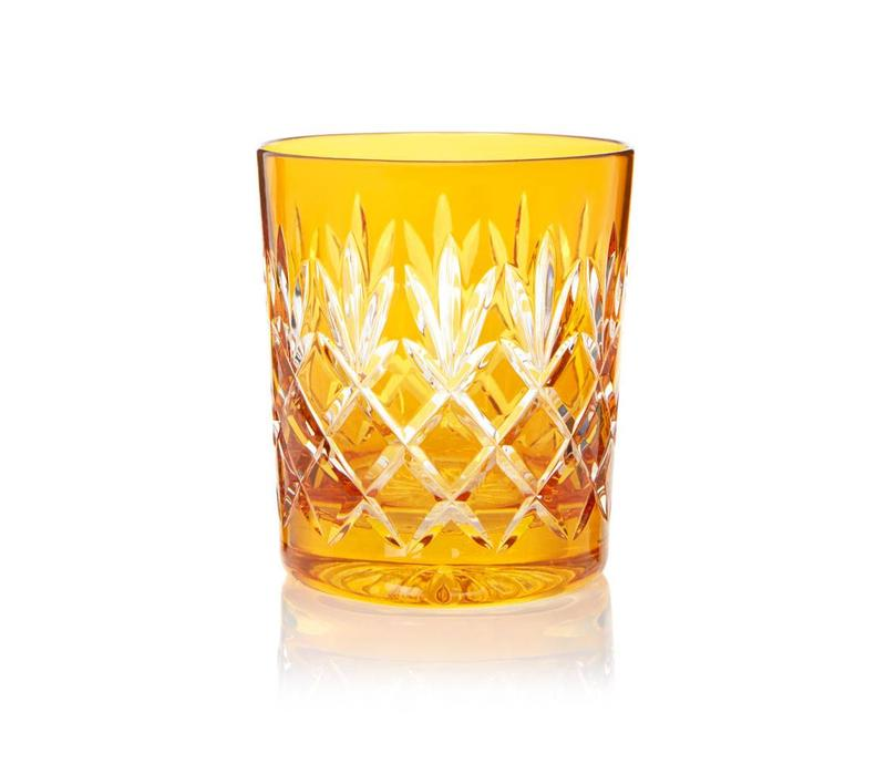 Pineapple Amber Double Old Fashioned Tumblers, set of 2