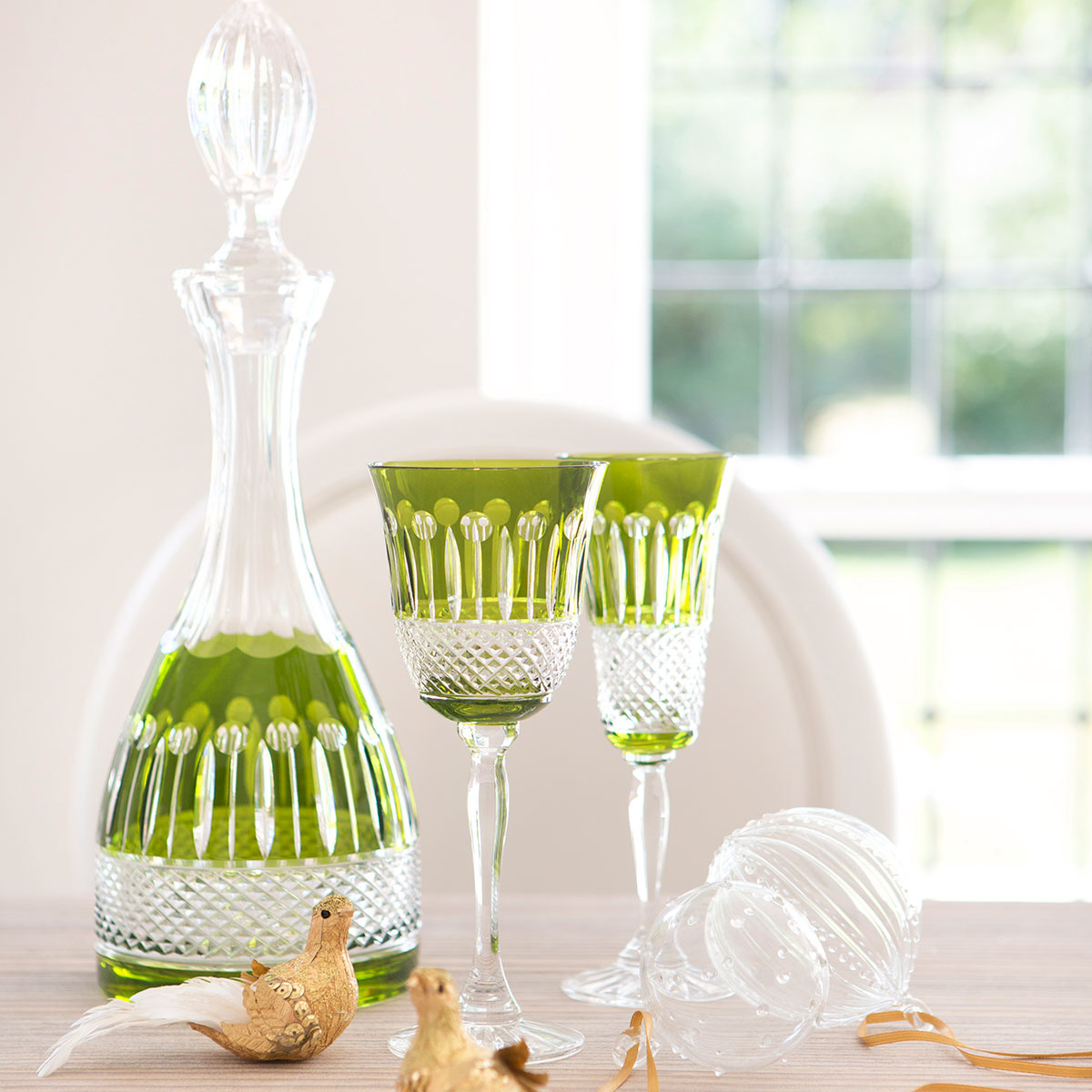 Olive Green Crystal Decanter