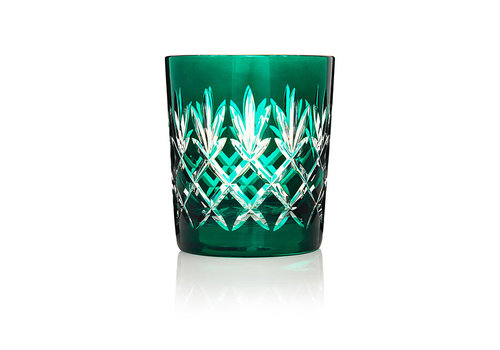 Gurasu Crystal  Pineapple Deep Green Double Old Fashioned Tumbler