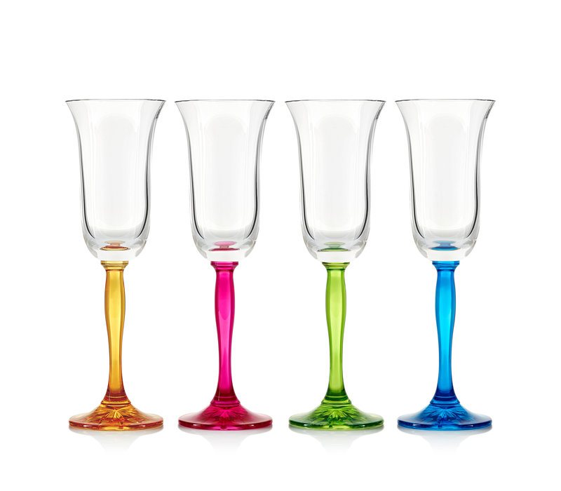 Fluorescence Crystal Champagne Flutes, set of 4