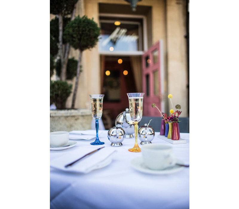 Blue Fluorescence Crystal Champagne Flutes, set of 4