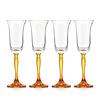 Gurasu Crystal Amber Fluorescence Crystal Champagne Flutes, set of 4
