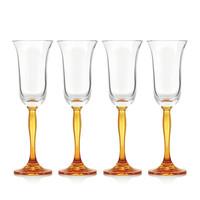 Amber Fluorescence Crystal Champagne Flutes, set of 4