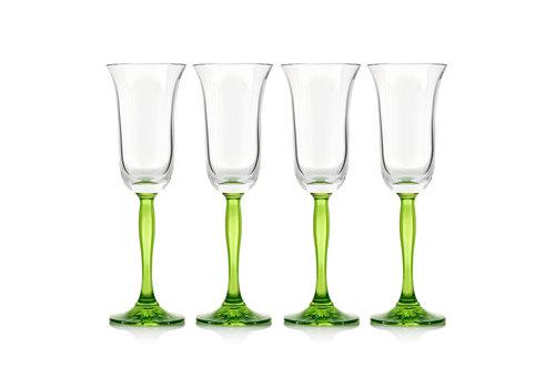 Gurasu Crystal Green Fluorescence Crystal Champagne Flutes, set of 4