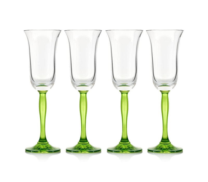 Green Fluorescence Crystal Champagne Flutes, set of 4