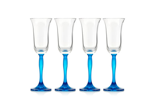 Gurasu Crystal Blue Fluorescence Crystal Champagne Flutes, set of 4